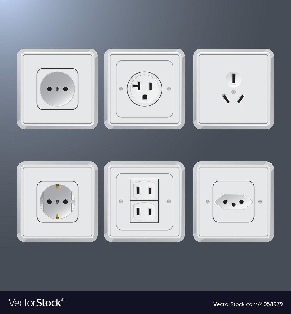Set of electrical socket different contries vector | Price: 1 Credit (USD $1)