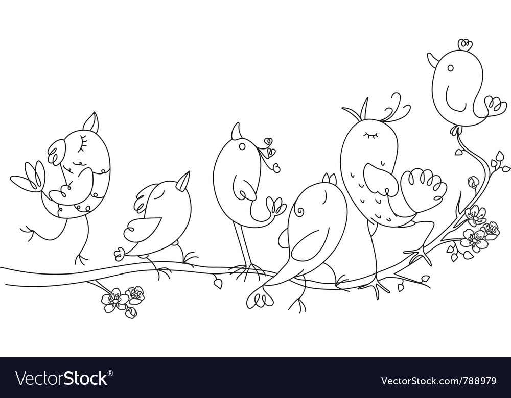 Singing birds on tree vector | Price: 1 Credit (USD $1)