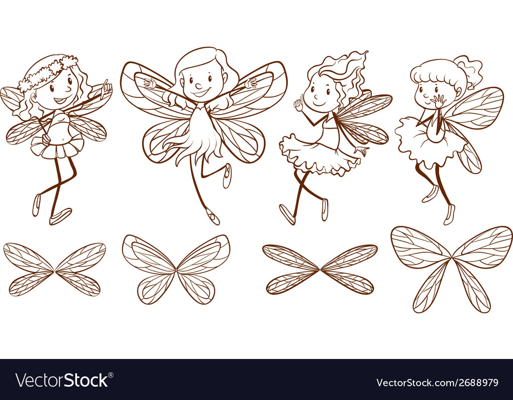 Sketch of simple fairies vector | Price: 1 Credit (USD $1)