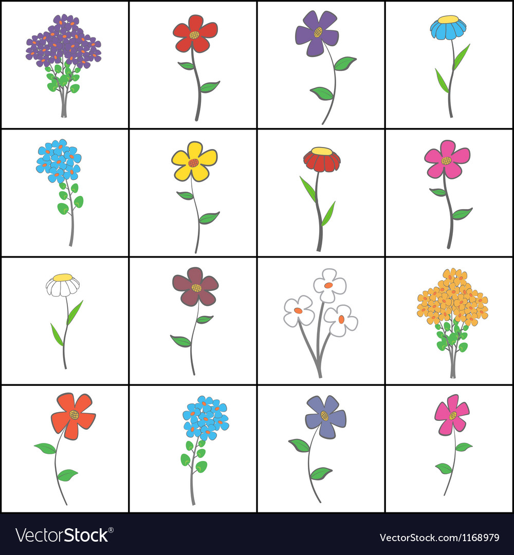 Squared floral set vector | Price: 1 Credit (USD $1)