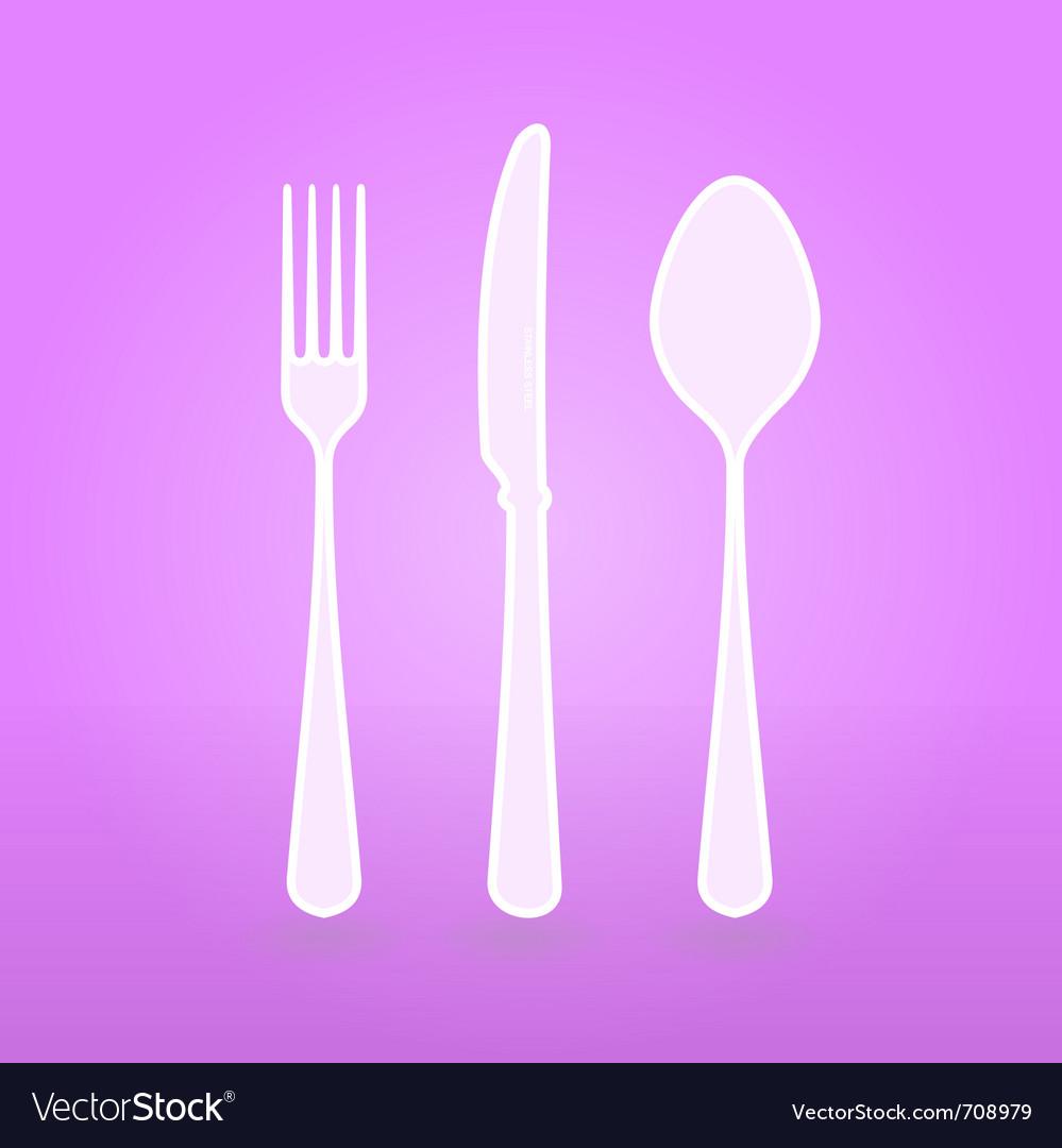 Violet cutlery set vector | Price: 1 Credit (USD $1)