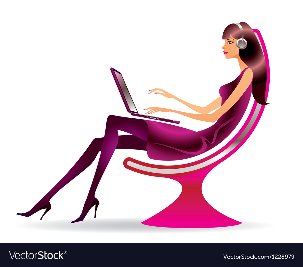 Woman in a modern chair with a laptop vector | Price: 1 Credit (USD $1)