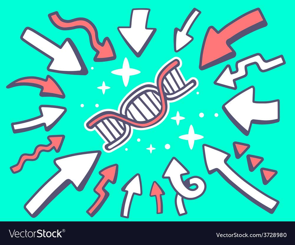 Arrows point to icon of dna molecule chai vector | Price: 1 Credit (USD $1)