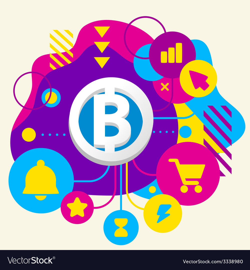 Bit coin on abstract colorful spotted background vector | Price: 3 Credit (USD $3)