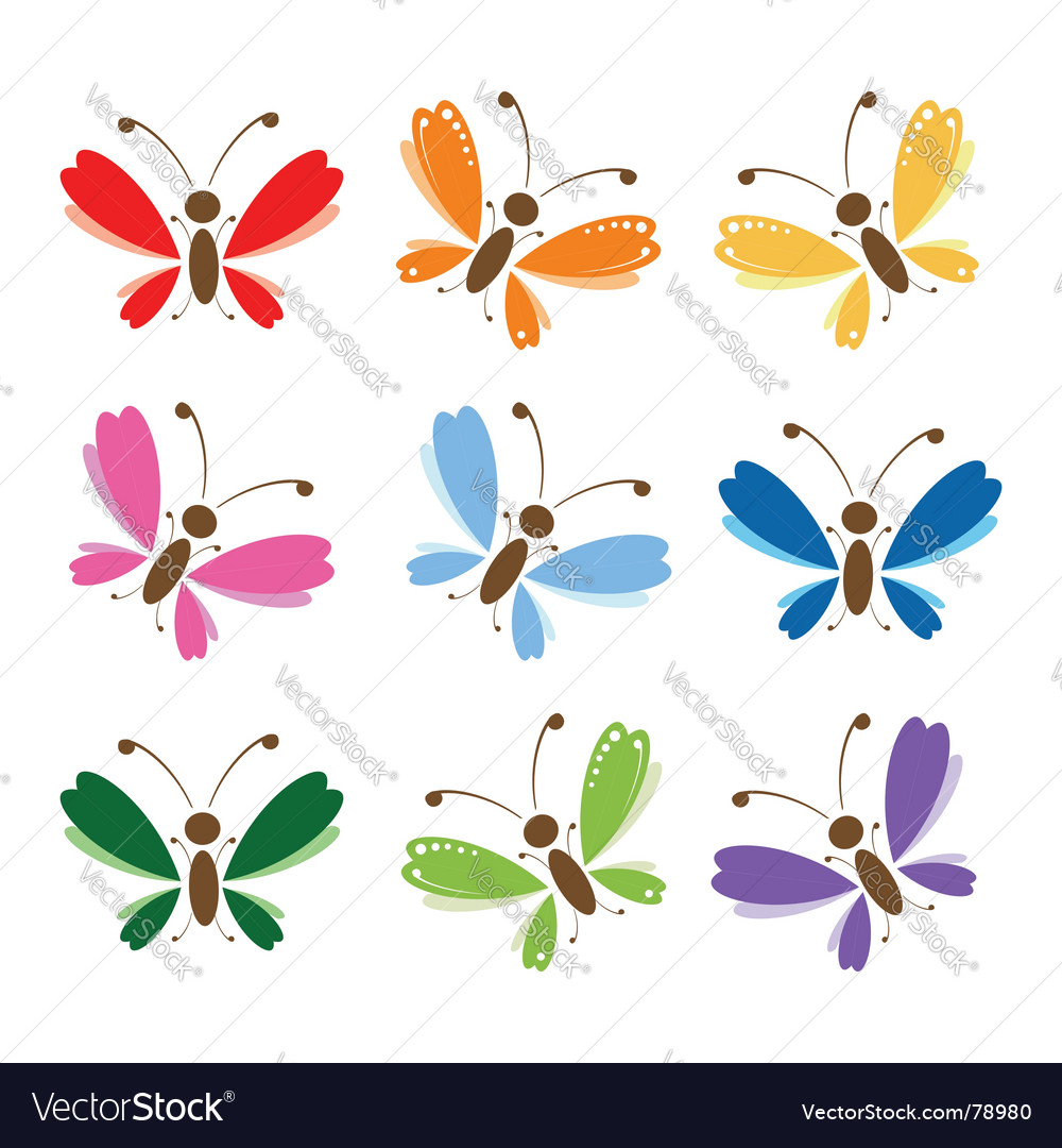 Butterfly set for your design vector | Price: 1 Credit (USD $1)