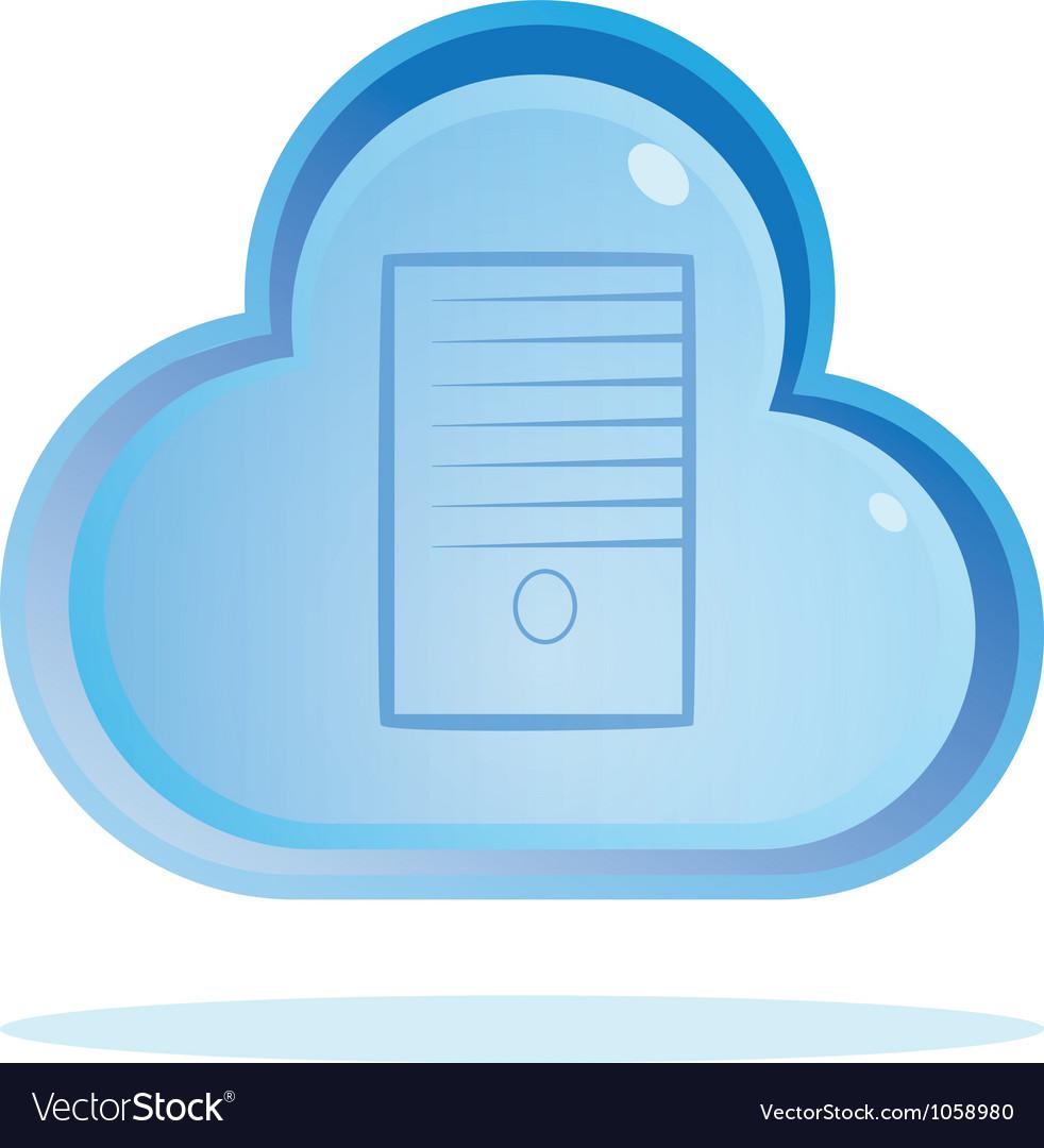 Cloud server button vector