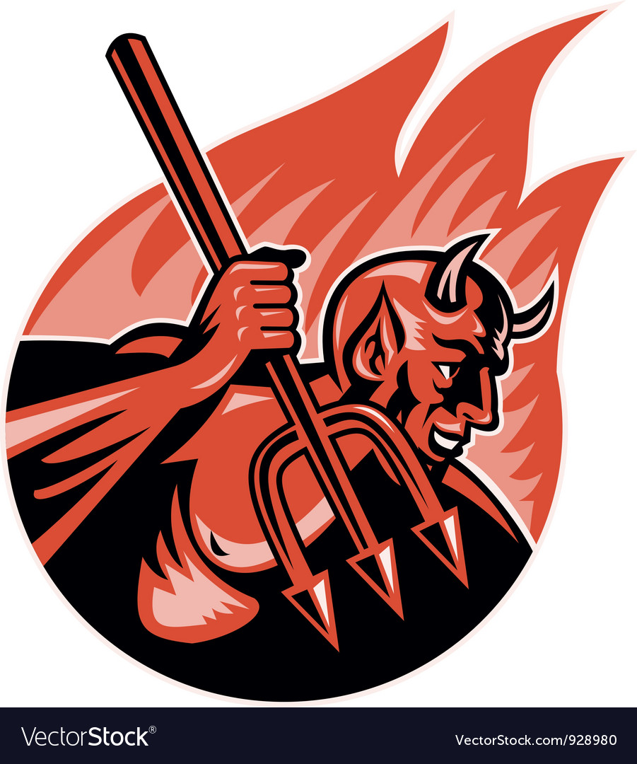 Devil demon with trident pitchfork vector | Price: 3 Credit (USD $3)