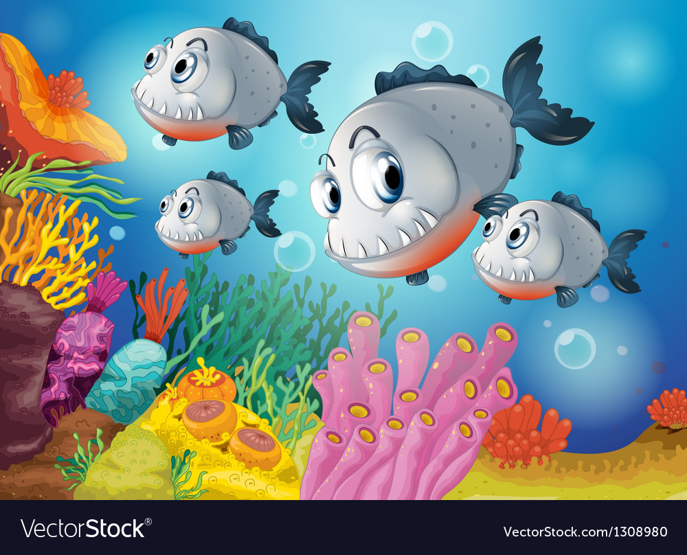 Four gray fishes under the sea vector | Price: 1 Credit (USD $1)