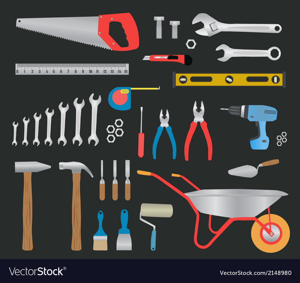 Modern hand tools instruments collection vector | Price: 1 Credit (USD $1)
