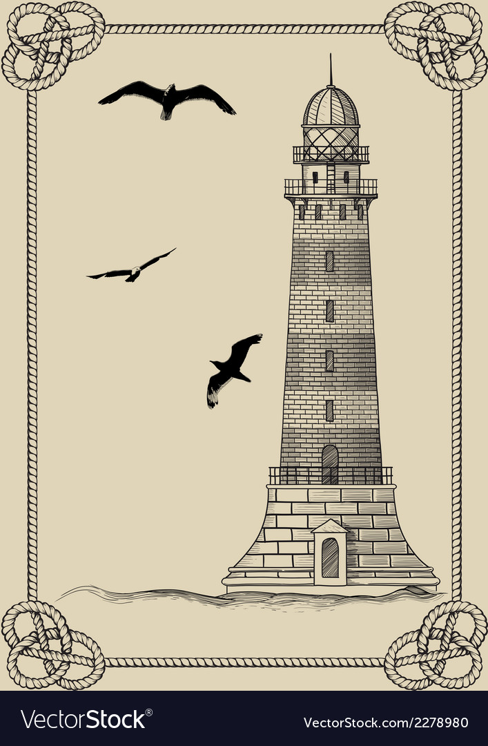 Old lighthouse in frame vector | Price: 1 Credit (USD $1)