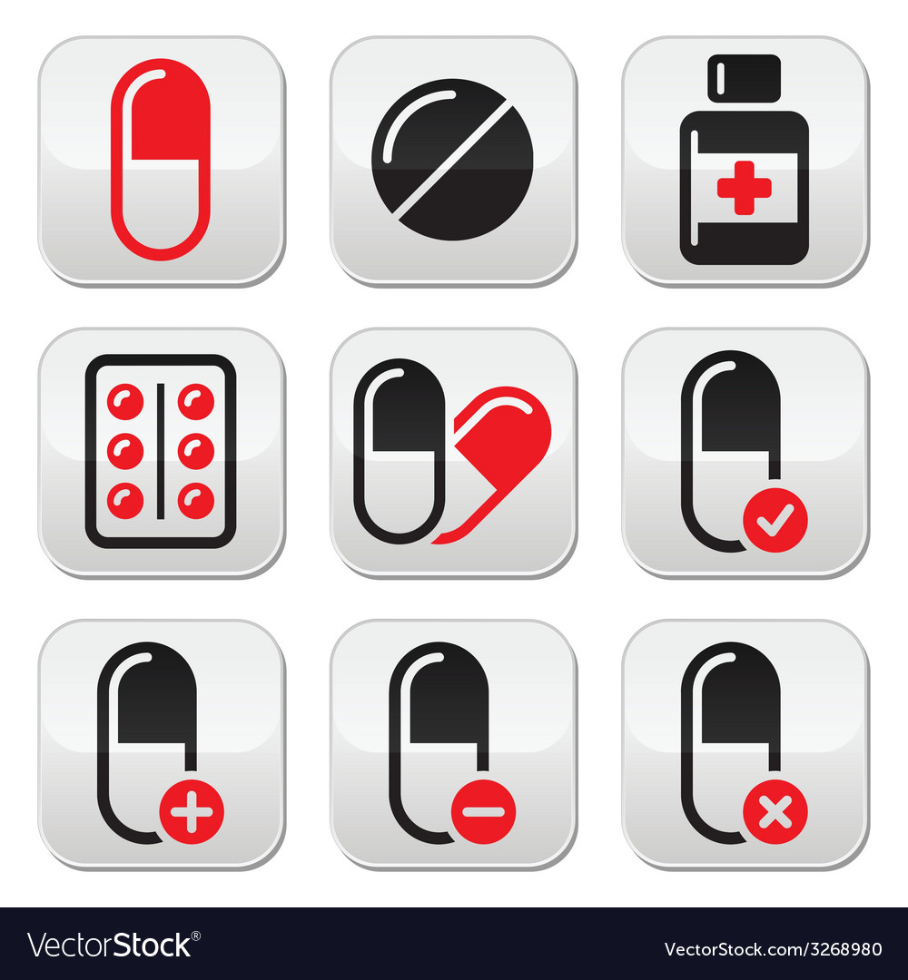Pills medication red and black icons set vector | Price: 1 Credit (USD $1)