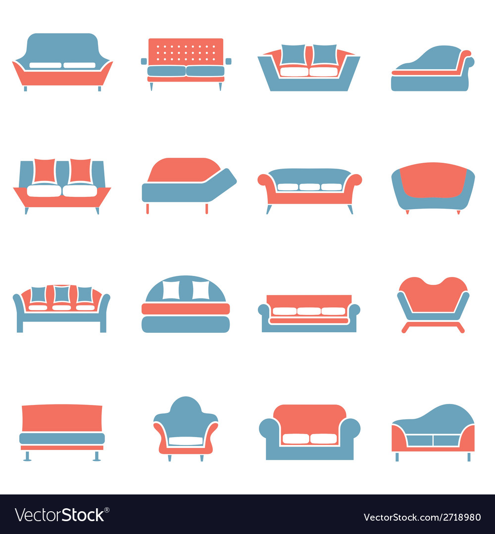 Sofa icons duotone vector | Price: 1 Credit (USD $1)