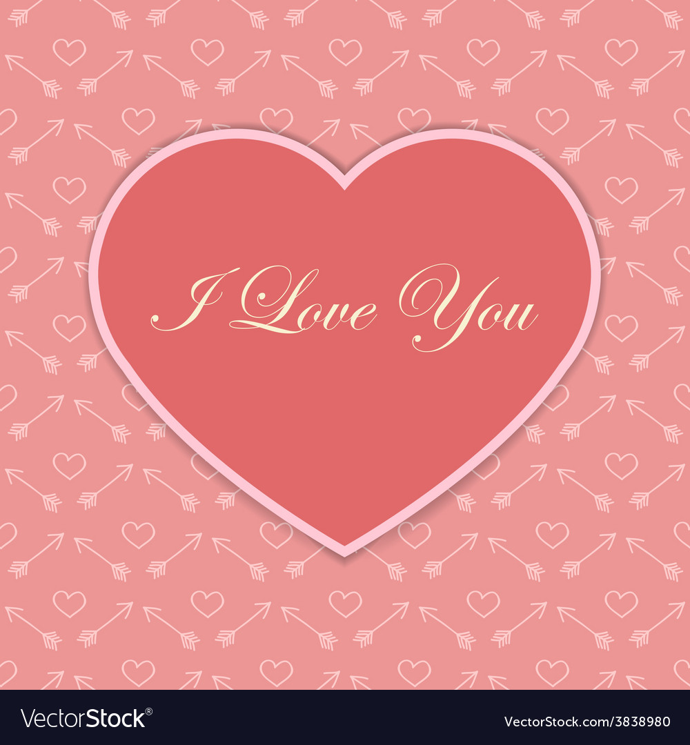 Valentine card with pink heart vector | Price: 1 Credit (USD $1)
