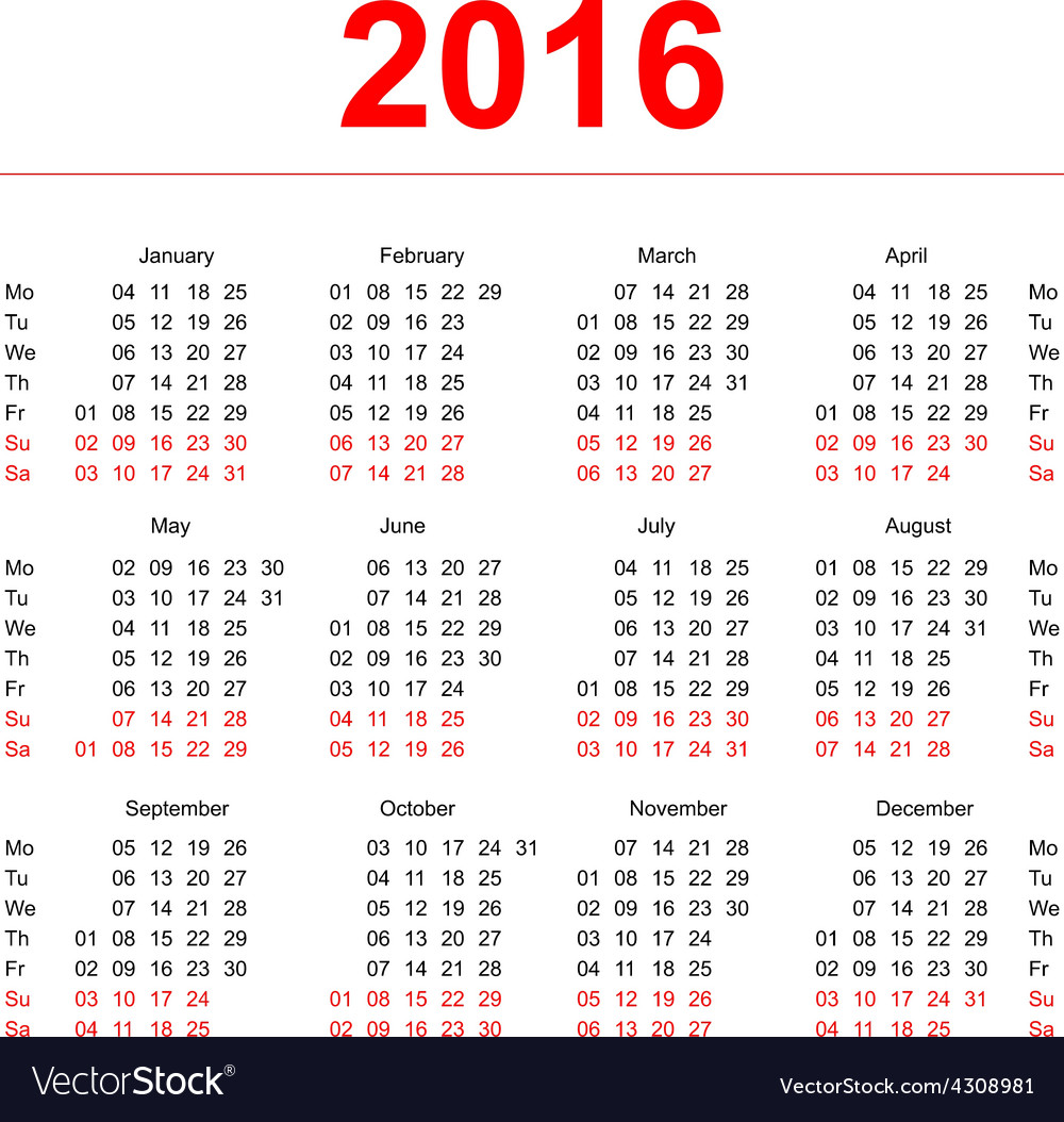 2016 calendar template vertical weeks first day vector | Price: 1 Credit (USD $1)