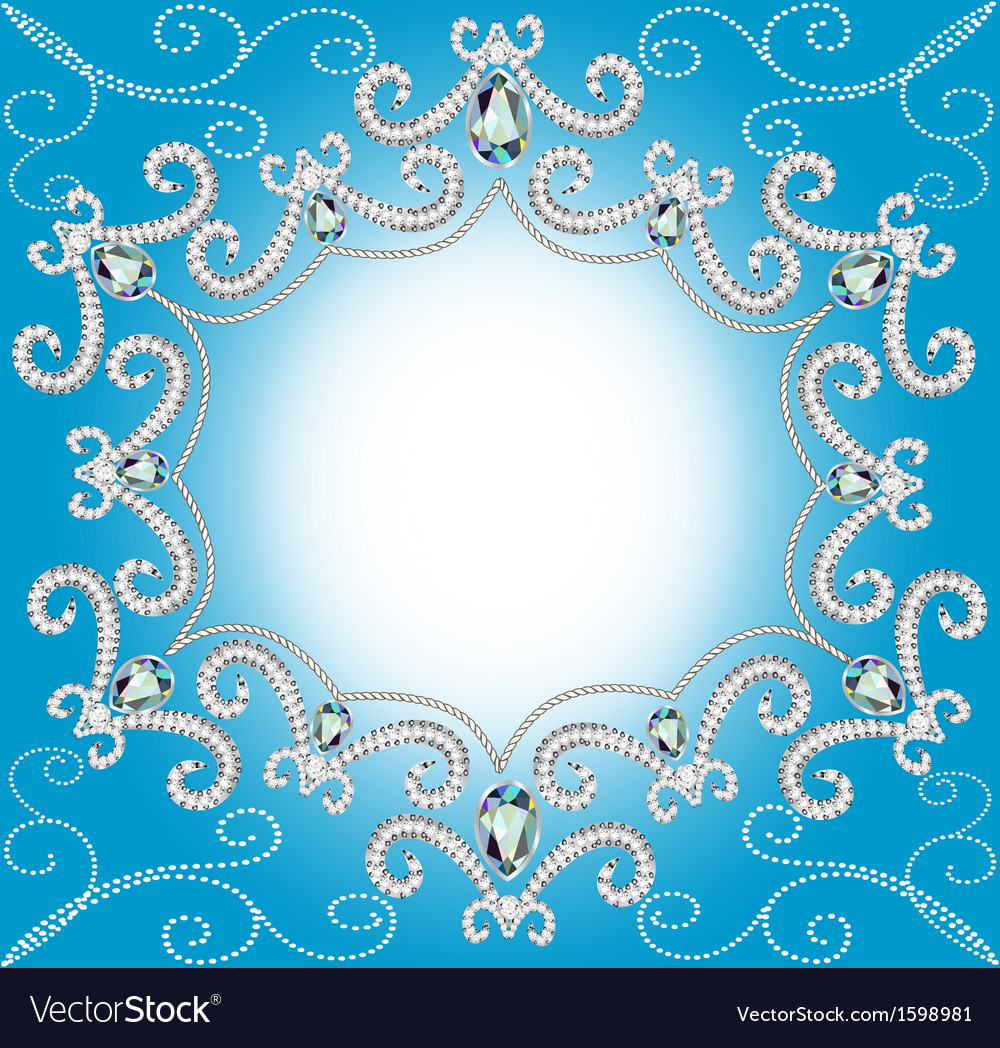 Background with ornament with pearls and silver vector | Price: 1 Credit (USD $1)