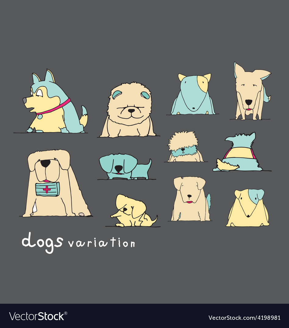 Dogs variation doodle pastel on dark grey vector | Price: 1 Credit (USD $1)