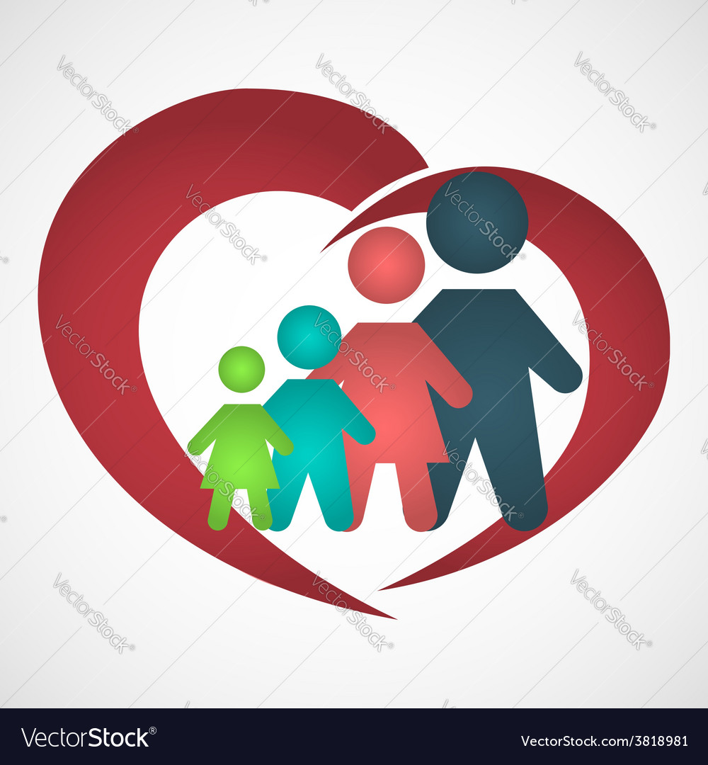 Family inside the heart vector | Price: 1 Credit (USD $1)