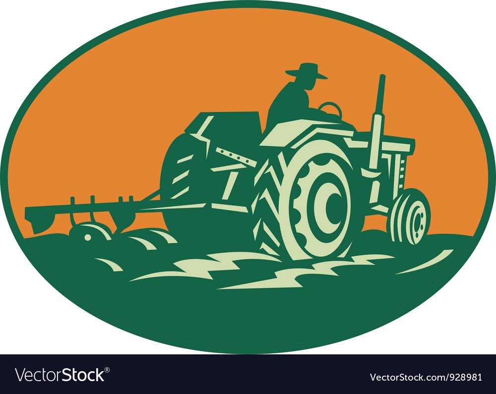 Farmer worker driving farm tractor vector | Price: 1 Credit (USD $1)