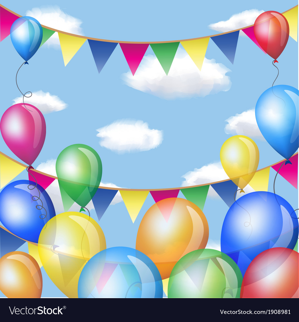 Holiday backgrounds with balloons and flags frame vector
