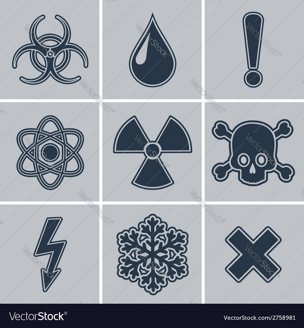 Icon set of warning symbols vector | Price: 1 Credit (USD $1)