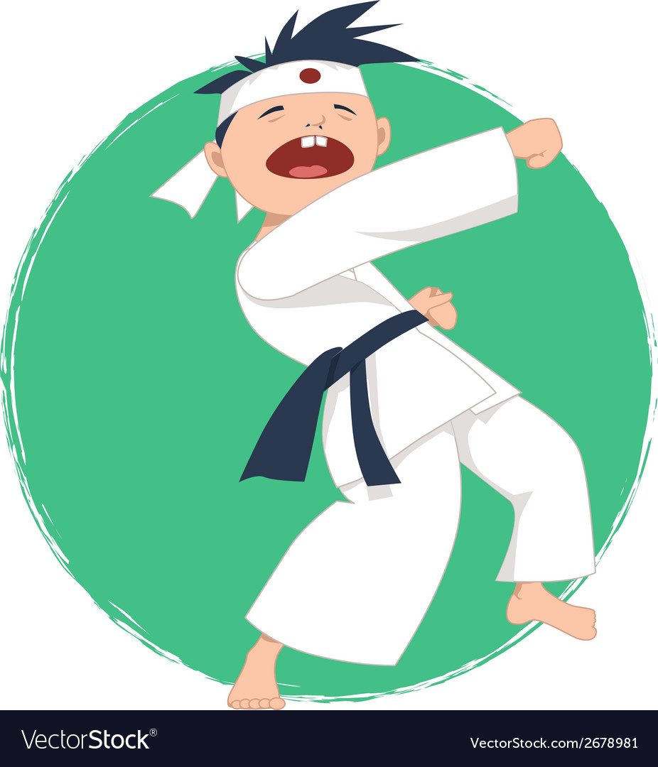 Little boy doing karate vector | Price: 1 Credit (USD $1)