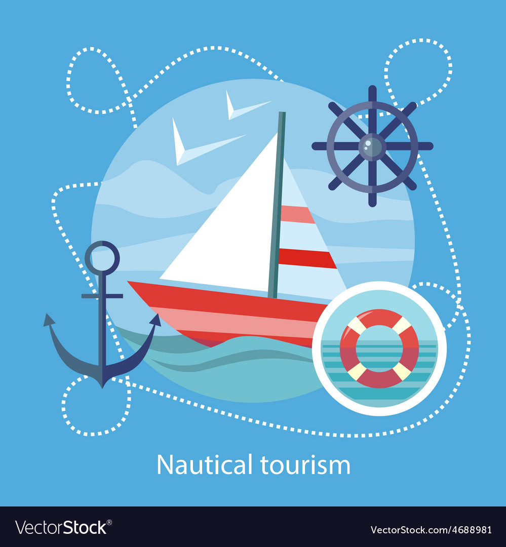 Nautical tourism sailing vessel in blue water vector | Price: 1 Credit (USD $1)
