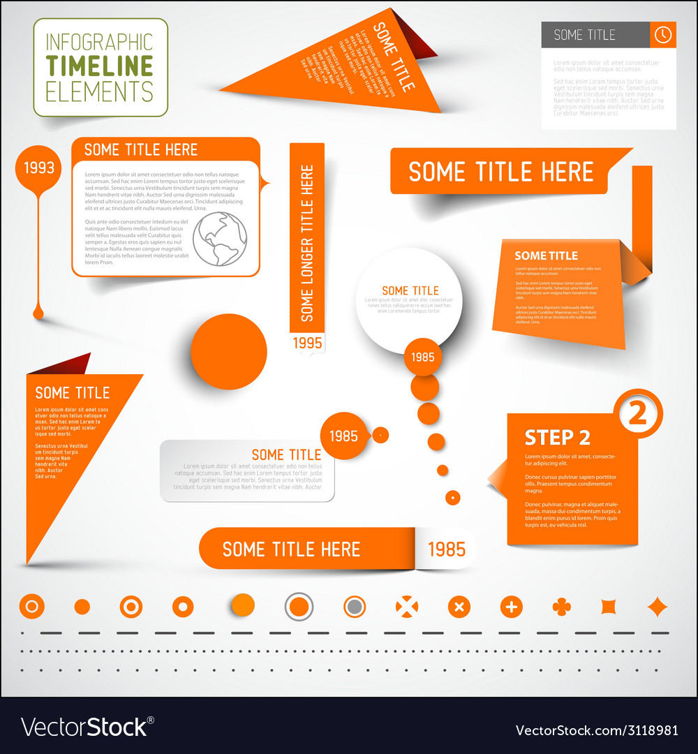 Orange infographic timeline elements template vector | Price: 1 Credit (USD $1)