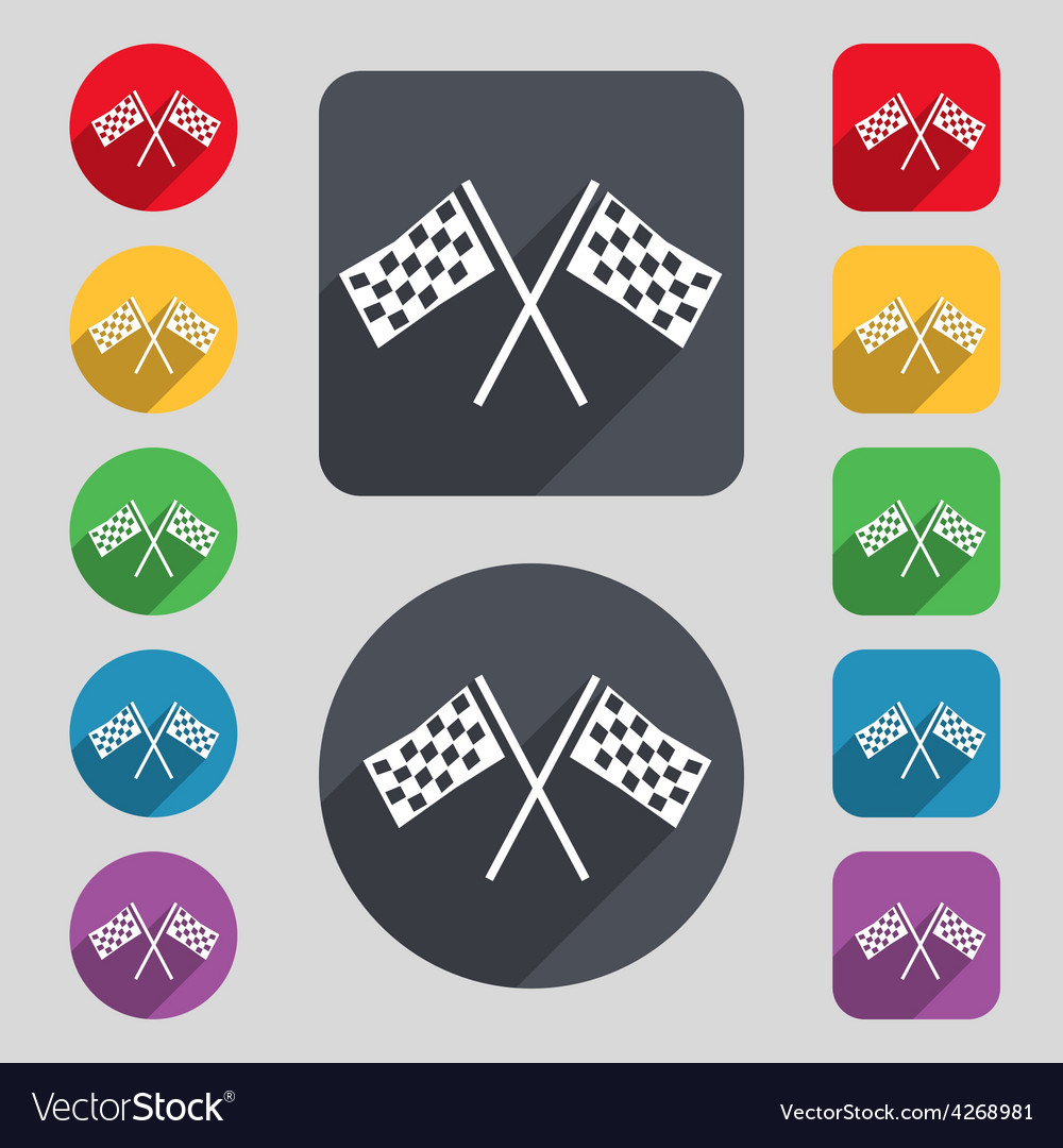 Race flag finish icon sign a set of 12 colored vector | Price: 1 Credit (USD $1)
