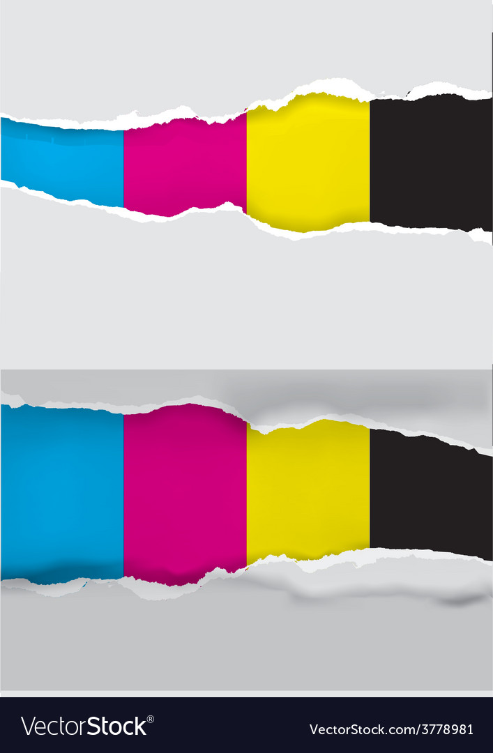 Ripped paper with print colors vector   Price: 1 Credit (USD $1)
