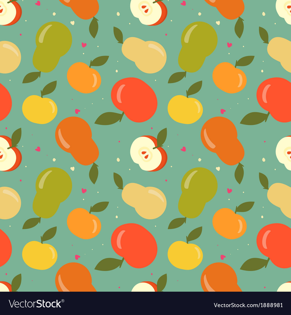 Seamless apple and pear pattern vector | Price: 1 Credit (USD $1)