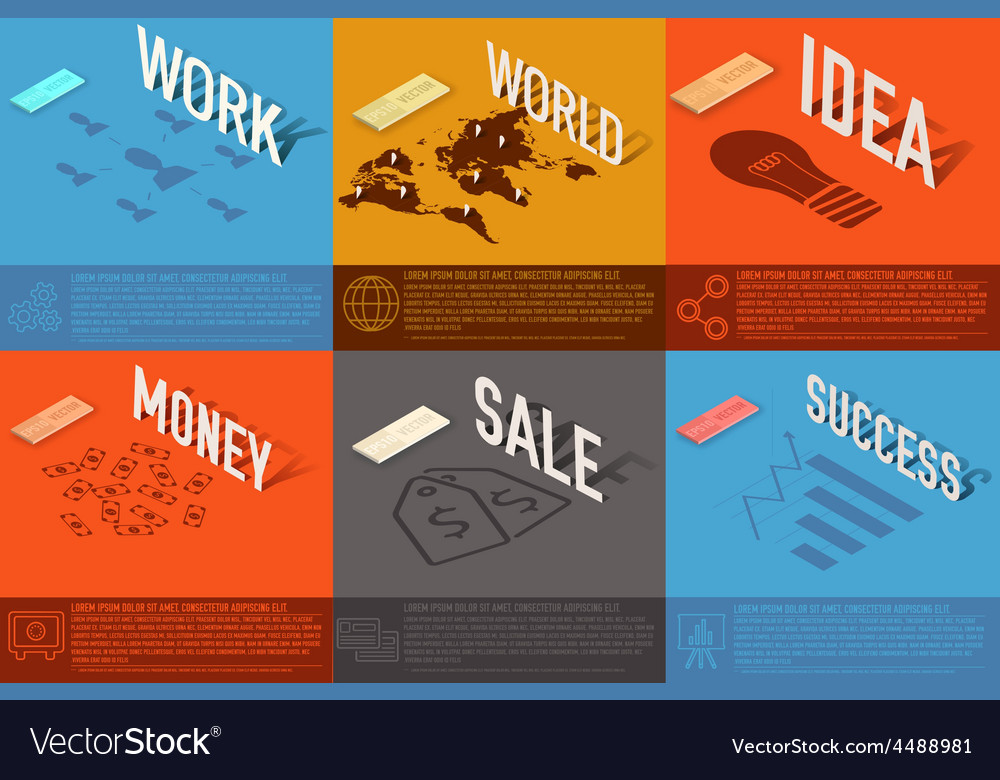 Set of perspective world idea sale success vector | Price: 1 Credit (USD $1)