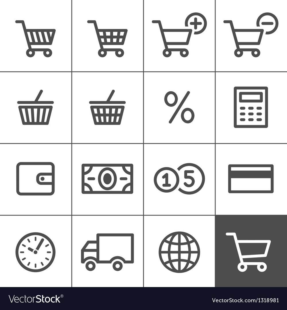 Shopping icons set  simplines series vector