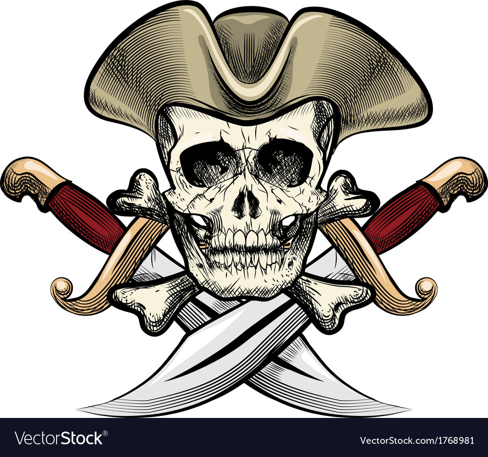 Skull in the hat vector | Price: 3 Credit (USD $3)