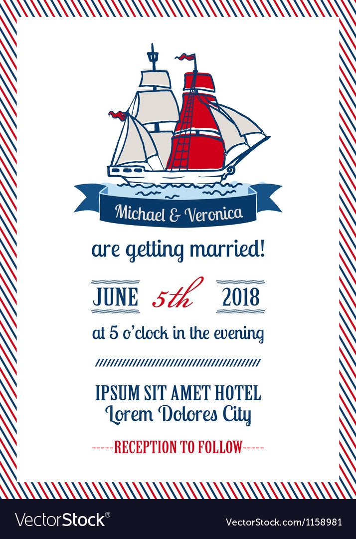 Wedding marine invitation card vector | Price: 1 Credit (USD $1)