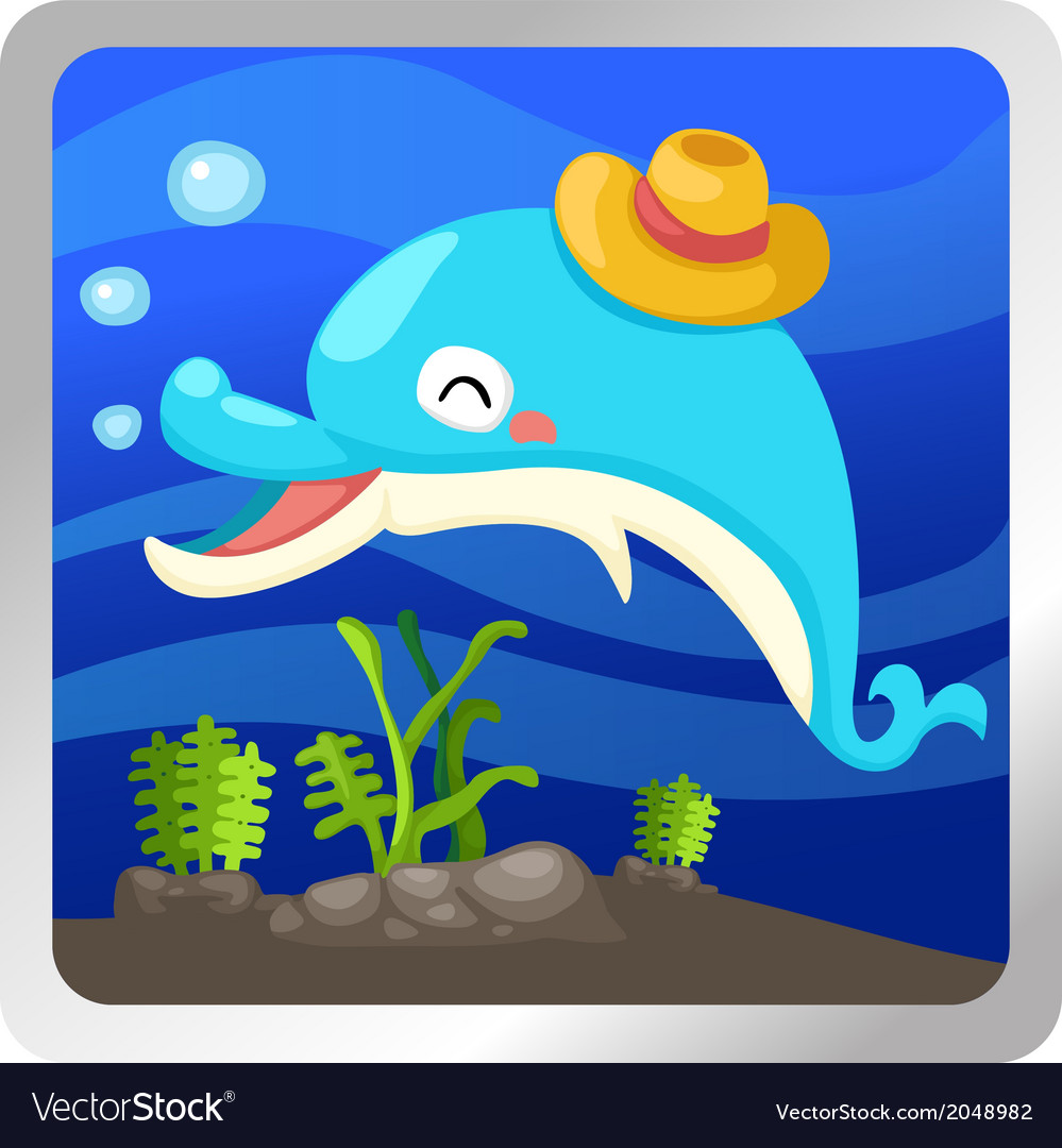 An isolated dolphin underwater vector | Price: 1 Credit (USD $1)