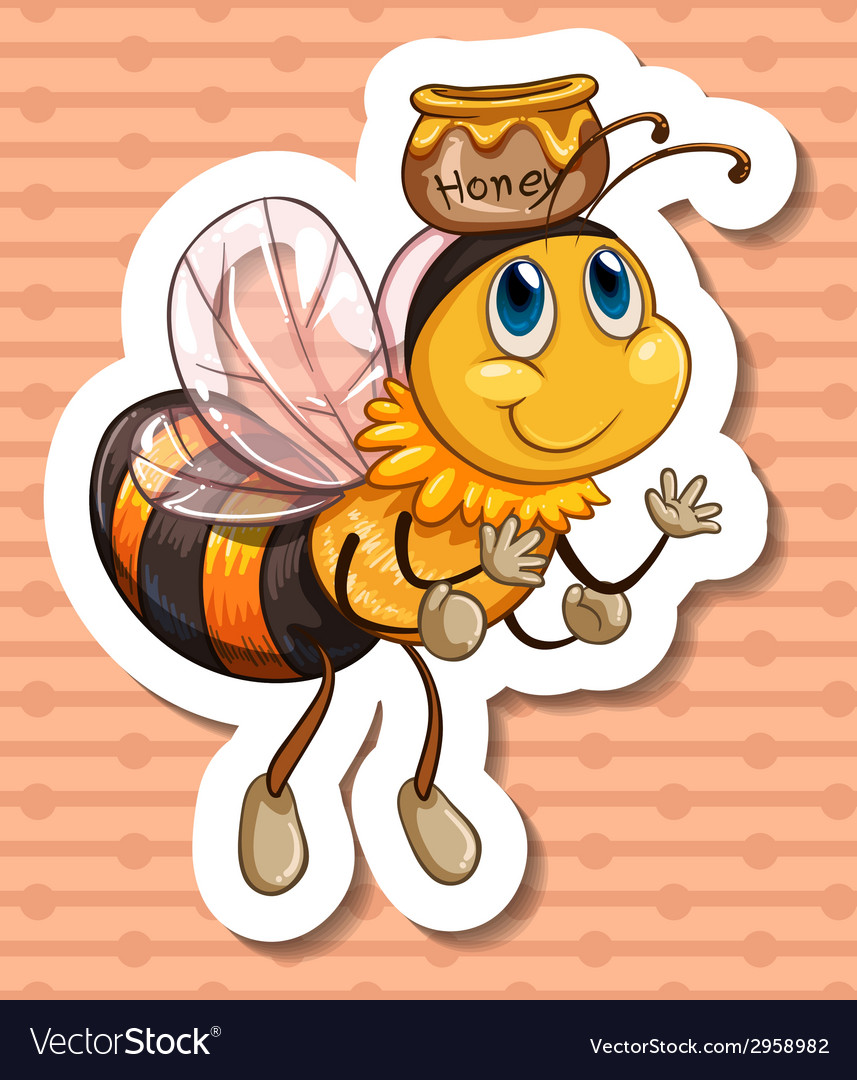 Bee and honey vector   Price: 1 Credit (USD $1)