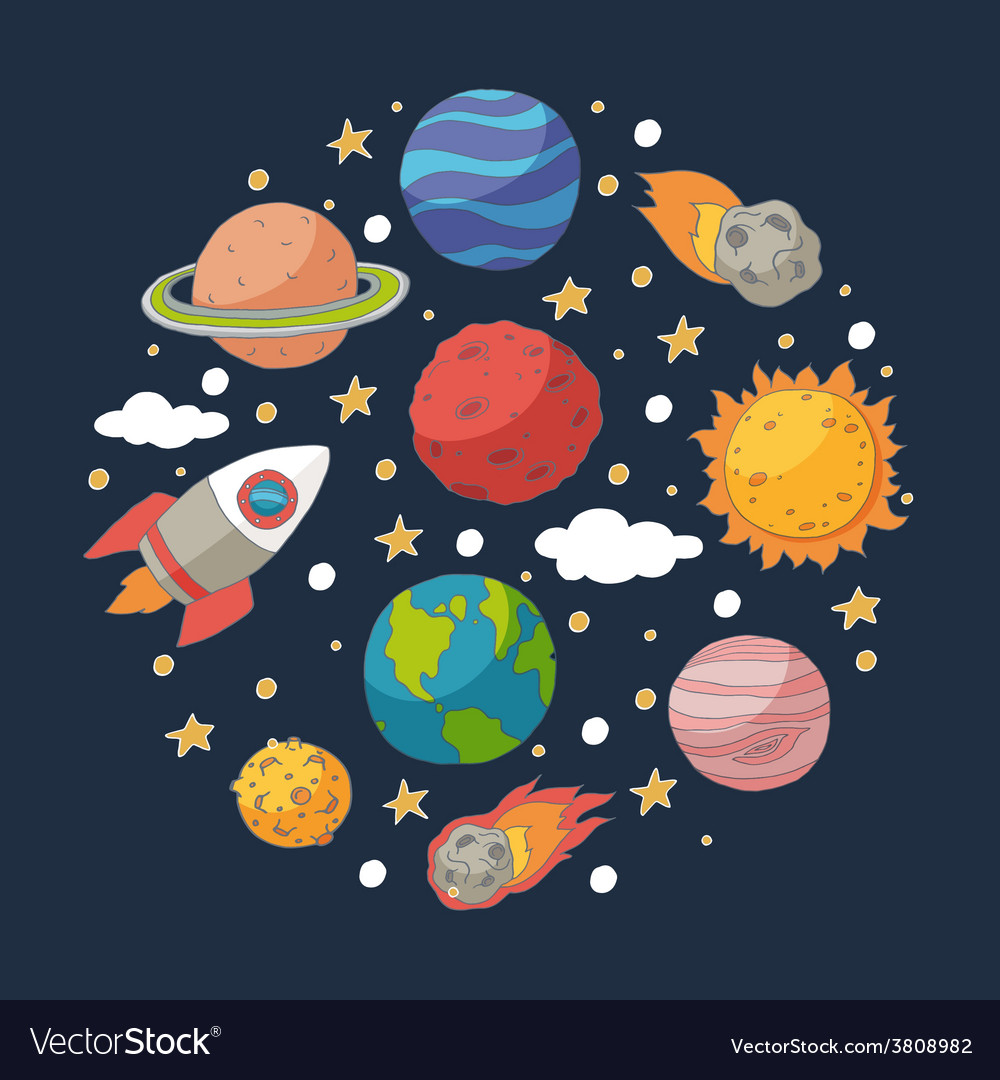 Doodle planets and the sun on blackboard vector | Price: 1 Credit (USD $1)