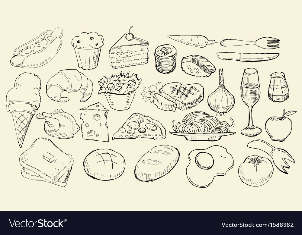 Drawn food collection vector | Price: 1 Credit (USD $1)