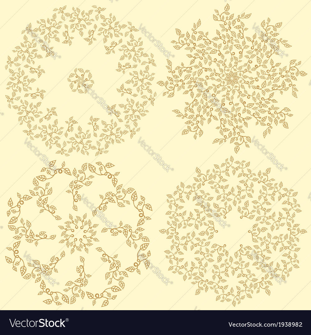Set of 4 round decorative leaves compositions vector   Price: 1 Credit (USD $1)
