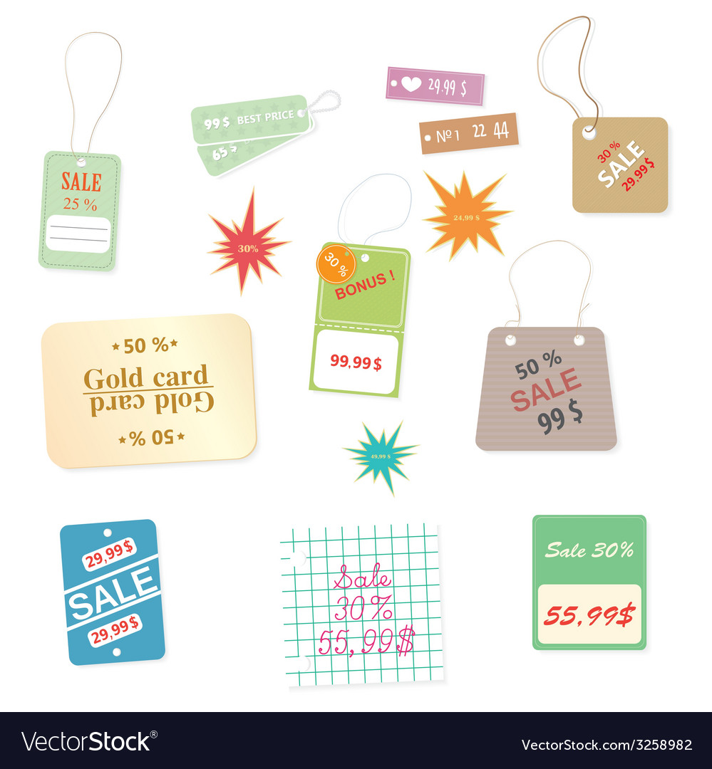 Set of colourful price tags on a white background vector | Price: 1 Credit (USD $1)