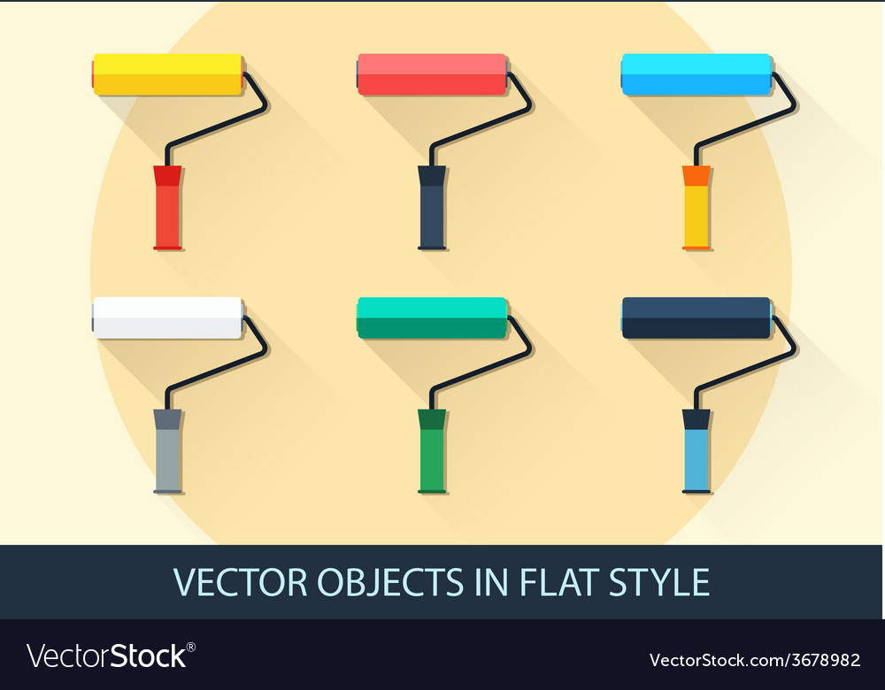 Set of roller in a flat style with shadow vector | Price: 1 Credit (USD $1)