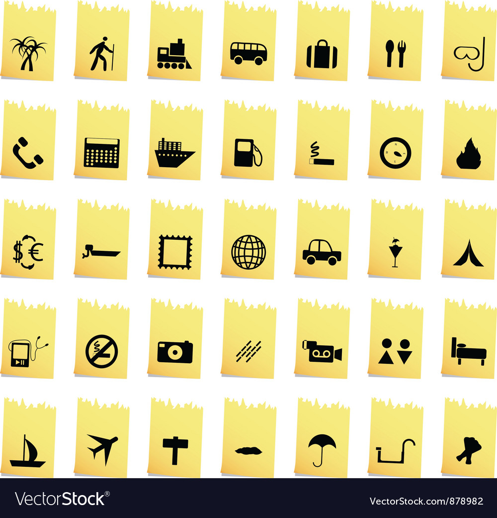 Travel set of different web icons vector | Price: 1 Credit (USD $1)