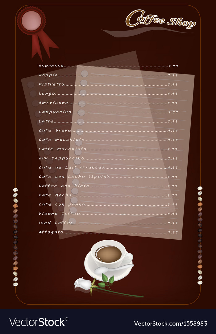 A coffee menu templatefor cafe and coffeehouse vector | Price: 1 Credit (USD $1)