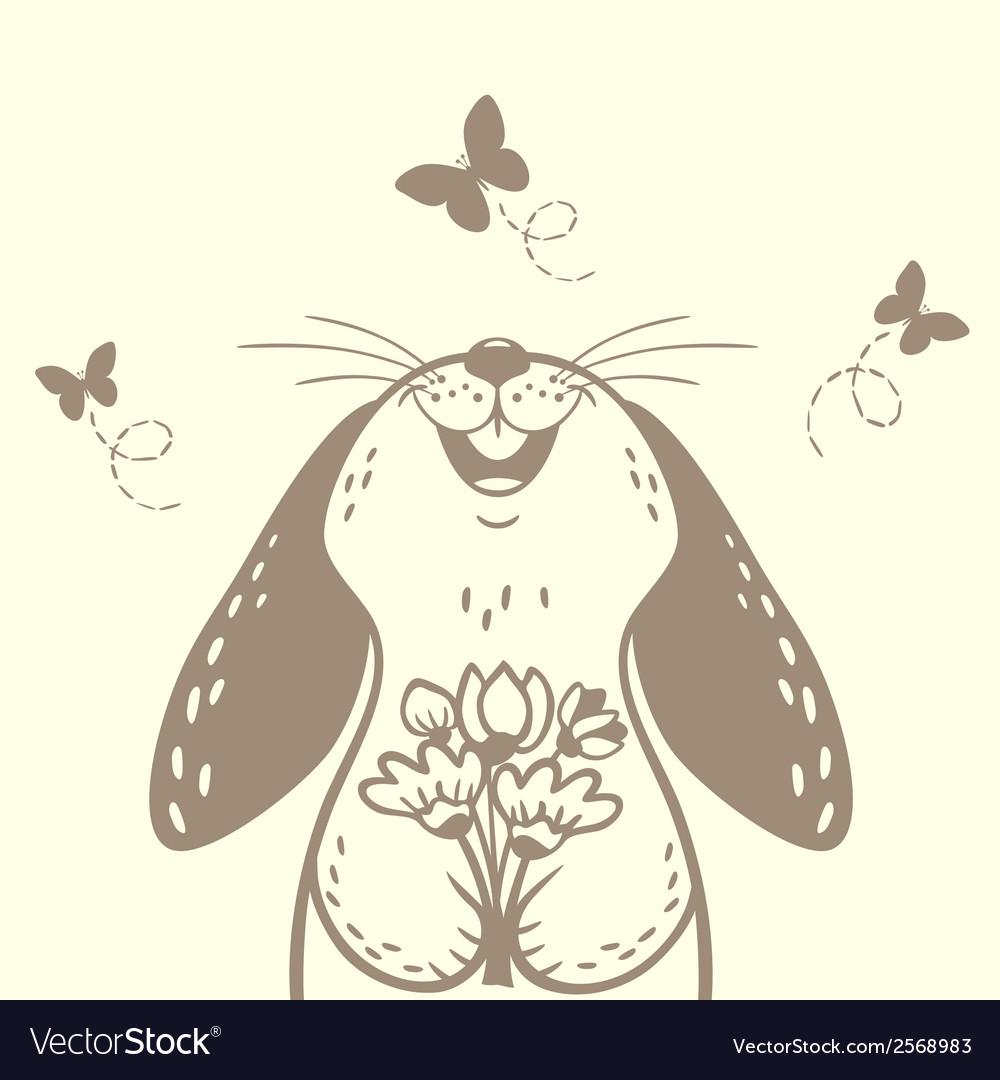 Bunny cute silhouette vector | Price: 1 Credit (USD $1)