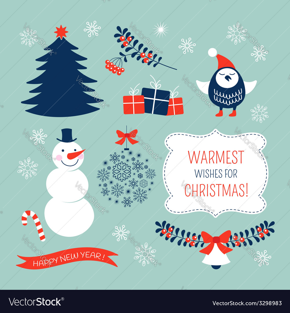 Christmas graphic elements set vector | Price: 1 Credit (USD $1)