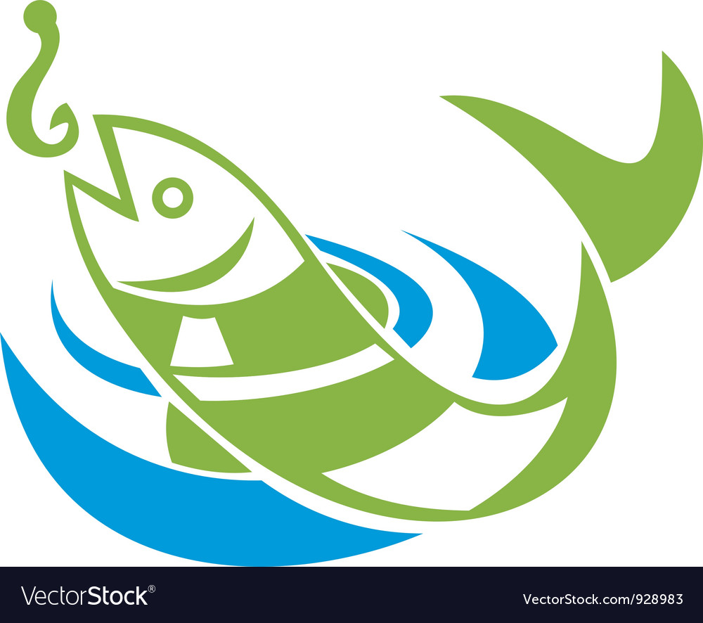 Fish jumping for bait hook vector | Price: 3 Credit (USD $3)