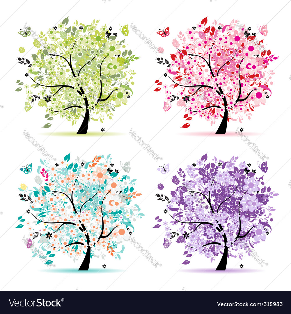 Floral trees vector | Price: 1 Credit (USD $1)