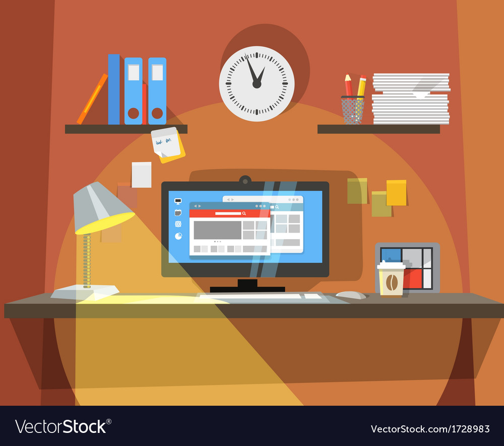 Interior of working place vector | Price: 1 Credit (USD $1)