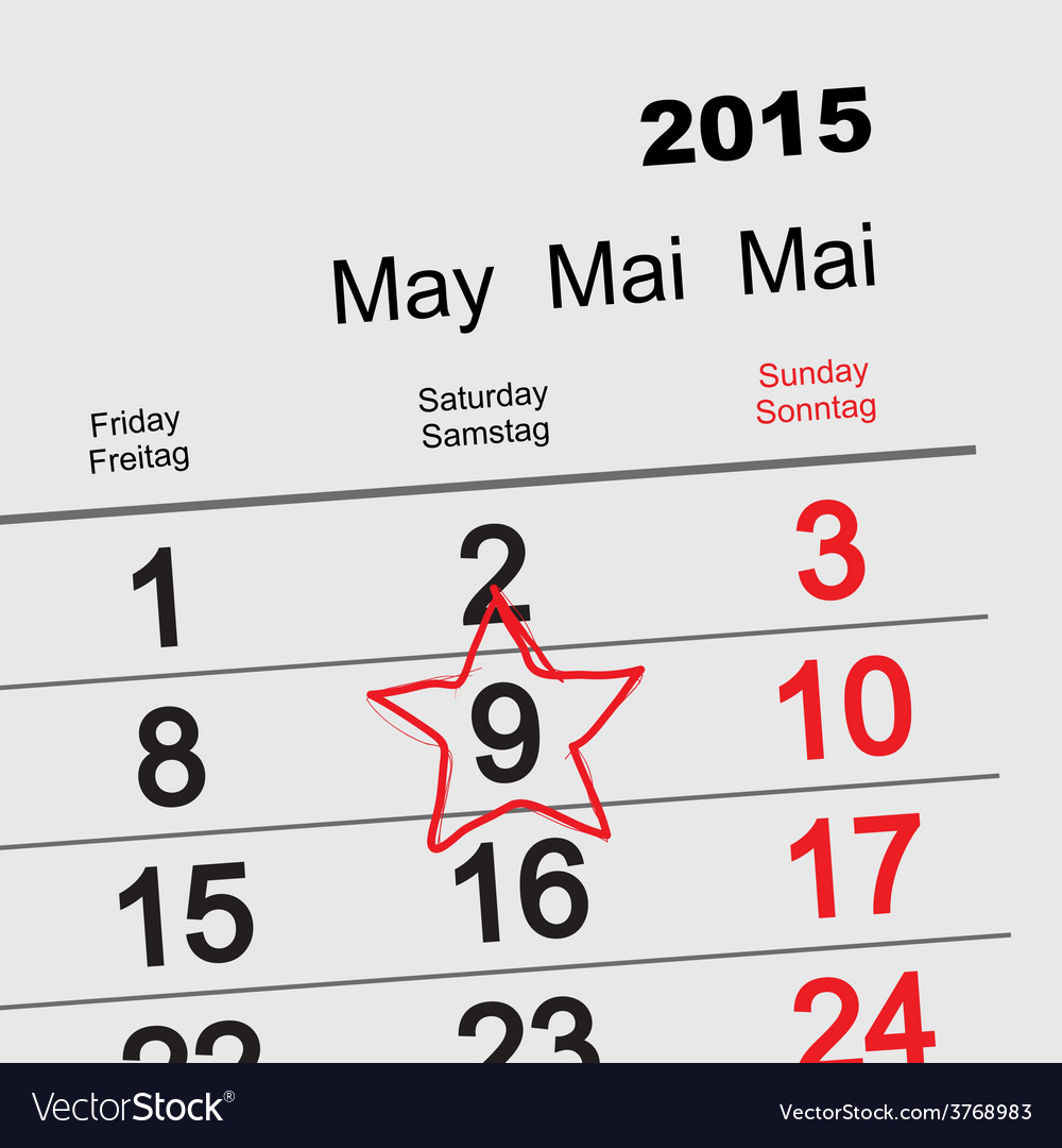 May 9 victory day calendar vector | Price: 1 Credit (USD $1)
