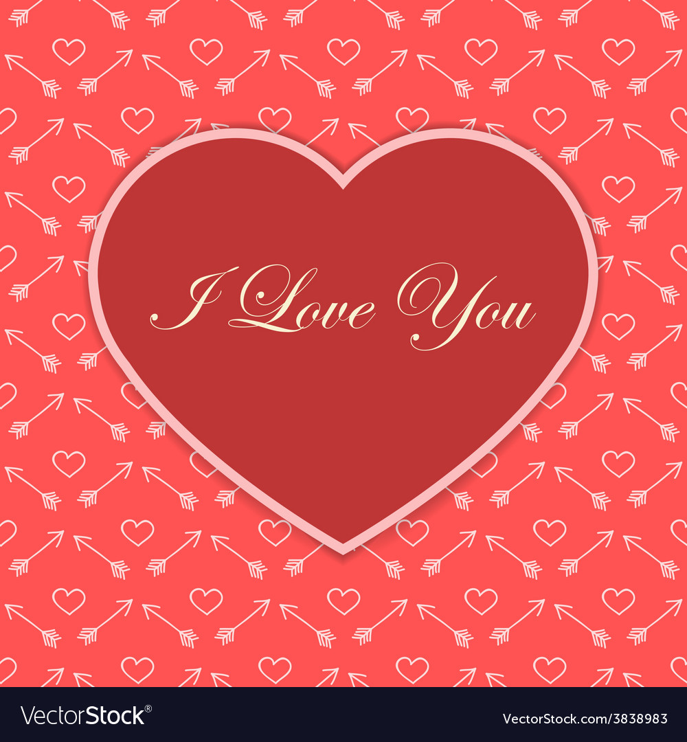 Valentine card with red heart vector | Price: 1 Credit (USD $1)